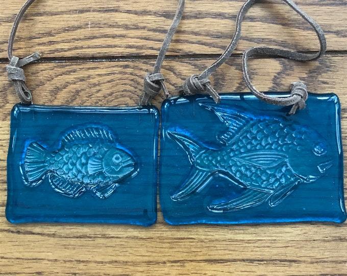Suncatcher, fused glass suncatcher, fish suncatcher, small blue glass fish suncatcher, large blue glass fish suncatcher, embossed fish.