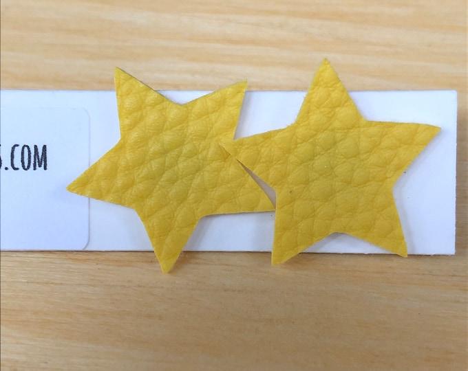 Star faux leather post earrings, sunshine yellow star textured faux leather post earrings, stud yellow star faux leather earrings, stars