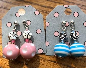 Post dangle flower earrings, round dangle post earrings, blue stripped earrings, casual flower stud earrings, polka dot post dangle earrings