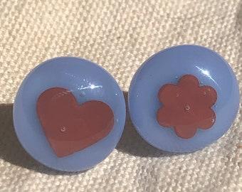 Glass post earrings, glass stud earrings, colorful glass post earrings, light blue glass post earrings, gold plate stud earrings with glass.