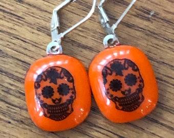 Sugar skull earrings, day of the dead earrings, orange sugar skull dangle earrings, orange decorative skull dangle earrings, day of the dead