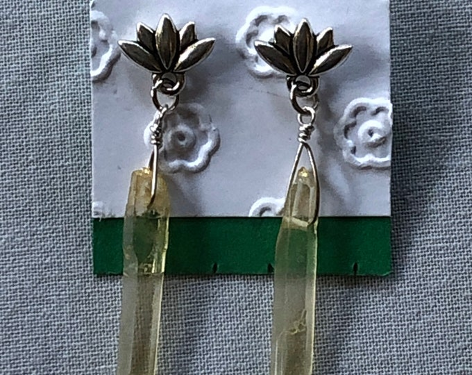 Crystal earrings, yellow crystal with lotus flower earrings, crystal jewelry, lotus flower post earrings, stud earrings, lotus stud earrings