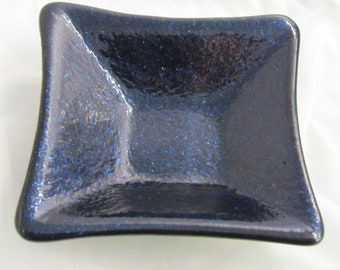 Trinket dish, catch all dish, fused glass dish, glass spoon rest, midnight blue catch all dish, what not dish, oil dipper dish.