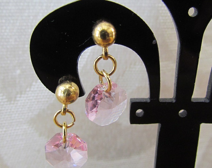 Swarvoski dainty earring, pink dangle earrings, pink octagon pendant, pink fashion earrings, light rose pink and gold jewelry.