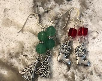 Christmas earrings, holiday earrings, Christmas charm earrings, Christmas dangle earrings, Christmas tree earrings, holiday jewelry.