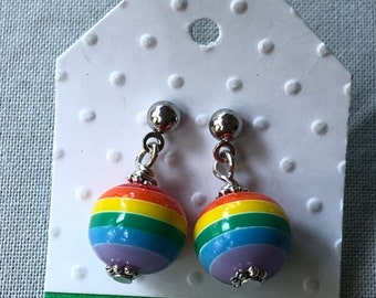 Rainbow earrings, youth rainbow dangle earrings, round rainbow dangle earrings, tween rainbow earrings, whimsical rainbow dangle earrings.