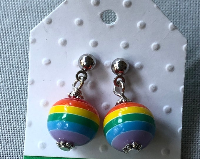 Rainbow earrings, youth rainbow dangle earrings, round rainbow dangle earrings, tween rainbow earrings, whimsical rainbow dangle earrings.