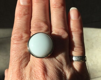 White statement ring, boho hippy fashion ring, retro statement ring.  Large white fused glass stone in an adjustable ring base