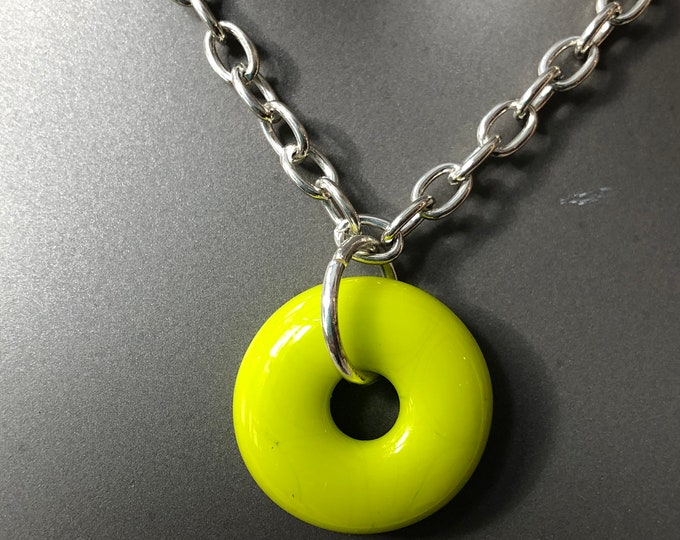 Fused glass doughnut necklace, Lime green choker, donut necklace, large fused glass pendant, fused glass doughnuts, round donut choker.