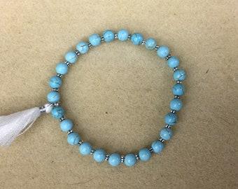 Turquoise stretch bracelet, small turquoise bead bracelet, turquoise dyed howlite stones, fashion stretch bracelet, stackable bracelet.