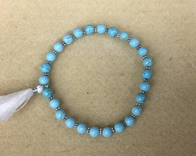Turquoise stretch bracelet, small turquoise bead bracelet, turquoise dyed howlite stones, fashion stretch bracelet, dainty stretch bracelet.
