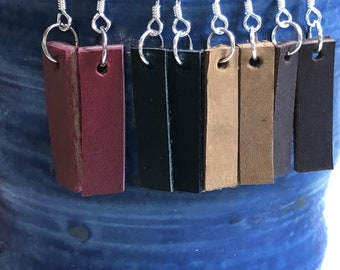 Leather drop earrings inspired by Joanna Gaines  Sterling silver and leather bar earrings, hand cut bar leather earrings, simple bar earring