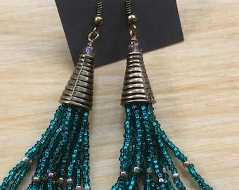 Beaded fringe earrings, blue-green fringe earrings, antique brass fringe earrings, beaded tassel earrings, beaded fringe drop earrings