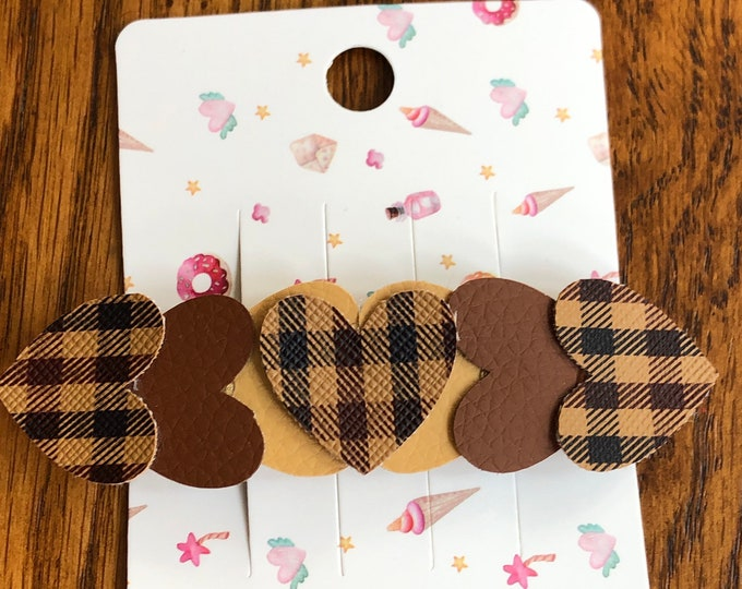Brown faux leather heart barrette, plaid brown, light and dark brown faux leather heart barrette, barrette with coordinating brown hearts