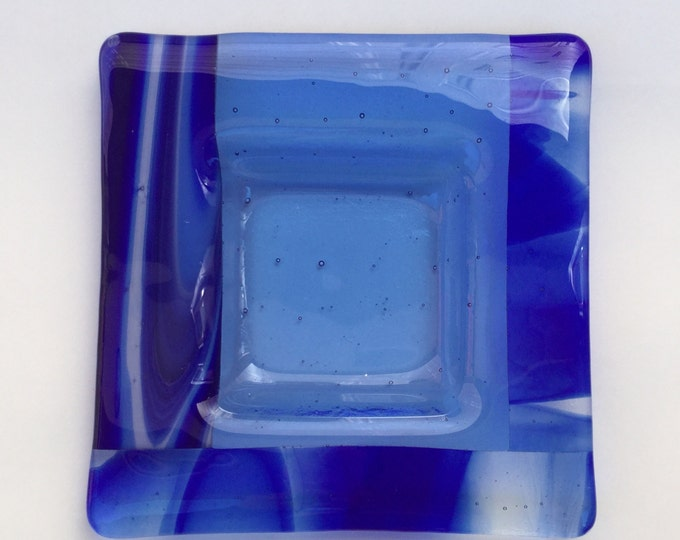 Fused glass square dish, blue glass candy dish, square fused glass dish, swirled blue glass dish .