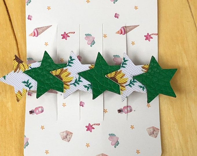Sunflower and green faux leather star barrette, patterned faux leather stars with green faux leather barrette.  3 inch barrette with stars