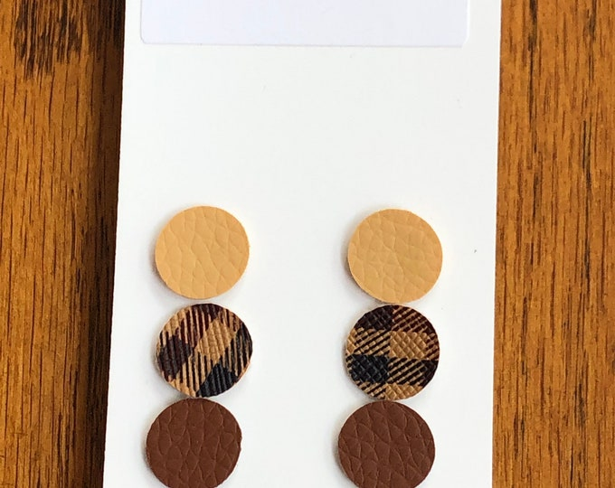 Round faux leather post earrings, light and dark brown and plaid faux leather round post earrings, 3 coordinating disk faux leather posts