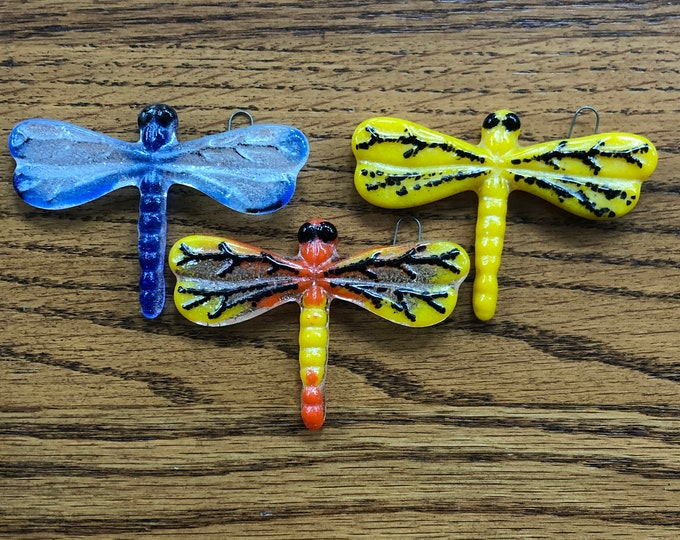 Glass dragonfly, glass dragonfly window hanger, yellow glass window hanger dragonfly, dragonfly suncatcher, blue dragonfly, orange dragonfly