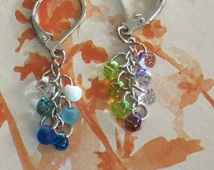 Cluster earrings in blue and white or green and purple.  The beads are small teardrop shape.  Have leverback ear wires.