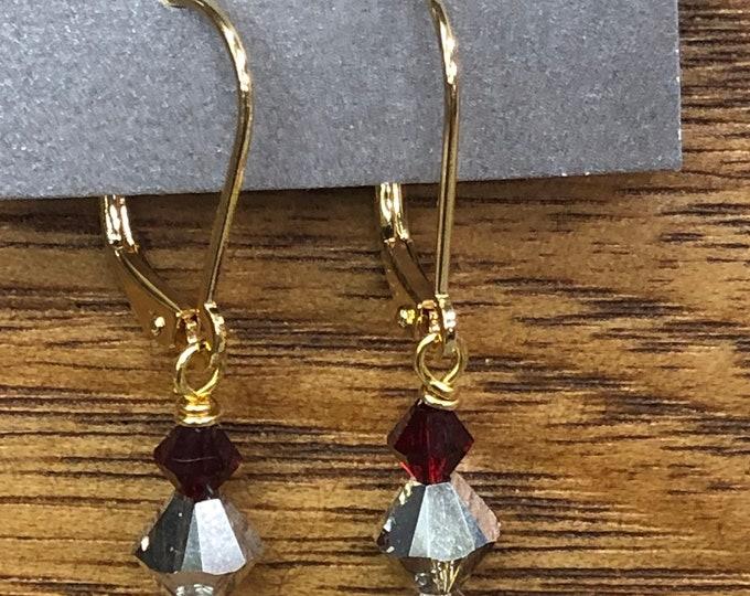 Swarovski crystal tri-color earrings, gold fancy ear rings, fancy drop ear rings, dainty mulitcolored ear rings, red fancy ear rings.