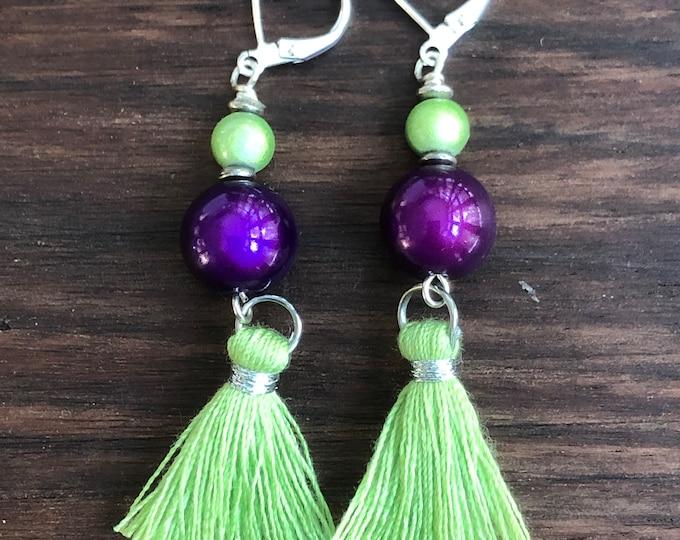 Green and purple tassel earrings, tassel fringe earrings, tassel drop earrings, long dangle earrings, long tassel beaded dangle earrings.