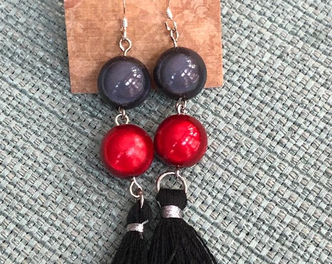 large bead red and black tassel earrings, tassel fringe earrings, tassel drop earrings, long dangle earrings, long tassel dangle earrings.