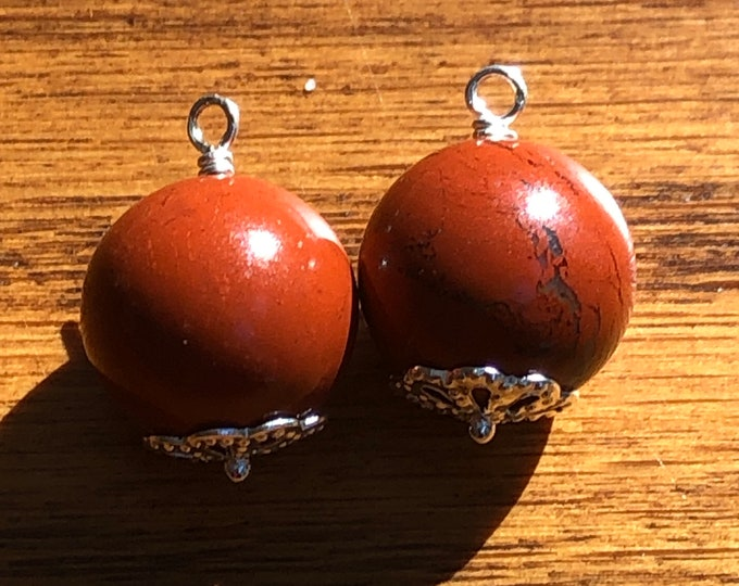 Hoop earring red jasper charm, removable hoop earring charm, red jasper earring charm, round red jasper hoop earring charm, red jasper charm