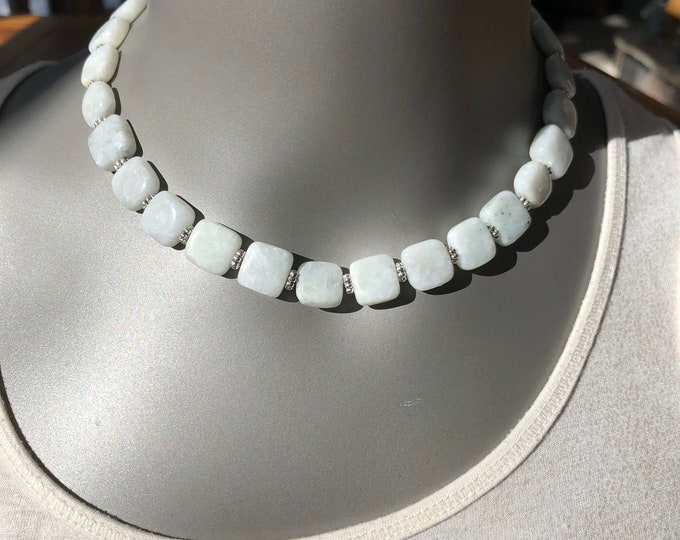 Natural stone necklace, natural stone choker, marble choker, white polished marble choker, natural stone jewelry, stone choker, white marble