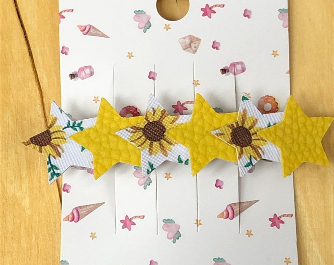 Sunflower and yellow faux leather star barrette, patterned faux leather stars with yellow faux leather barrette.  3 inch barrette with stars
