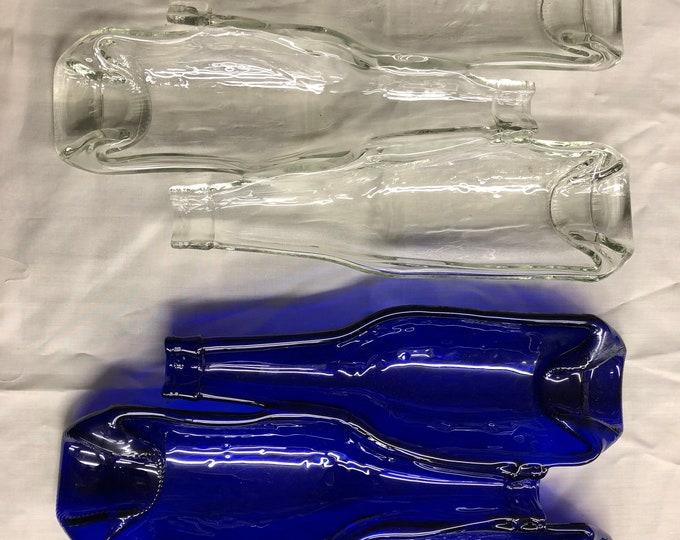 Cobalt bottle 3 compartment tray, cobalt blue bottle, beer bottle art, beer bottle tray, bar gift, bar ware, beer bottle spoon rest.