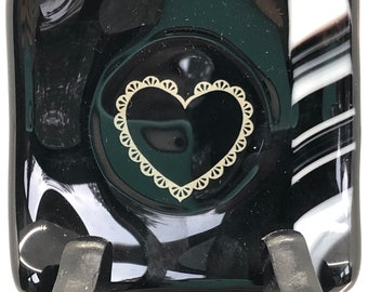 Small ring dish, black ring dish with lace  heart outline, sushi dish with lace heart in the middle, glass ring dish with silver lace heart