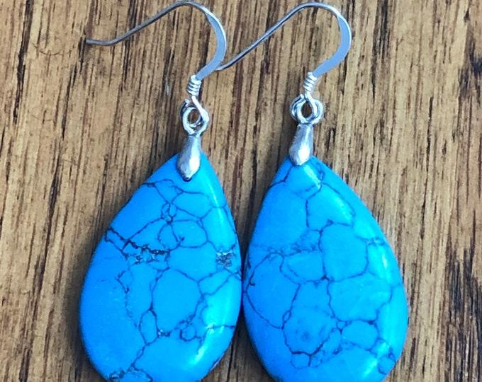 Turquoise teardrop earrings,  blue turquoise earrings, large statement blue turquoise earrings, semiprecious stone western drop earrings,