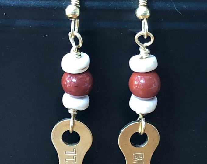 Bicycle earrings, bicycle chain link earrings, bike chain earrings, bike chain connector link earrings, bicycle lovers gift red jasper