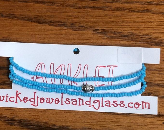 light blue ankle bracelet, set of 3 stretch ankle bracelets, light blue bead ankle bracelet with fish charm, anklets, blue beaded anklets.