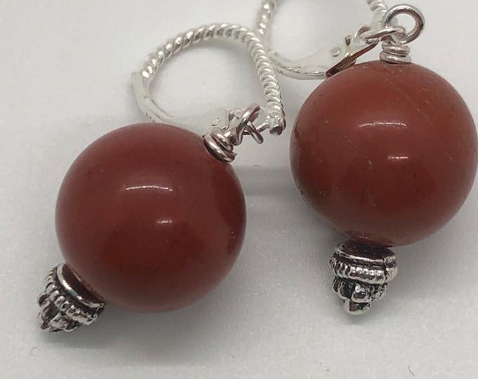 Red jasper semi precious stone earrings, semi precious stone earrings, large ball semi precious stone earrings, statement earrings.