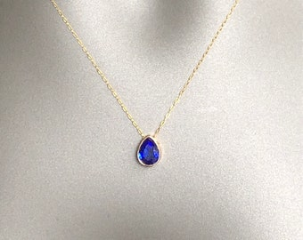 Gold Swarovski necklace, teardrop fashion Swarovski necklace, small cobalt blue Swarovski diamond necklace, gold and blue Swarovski necklace