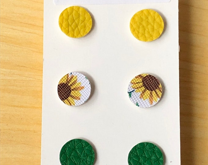 Round faux leather post earrings, yellow green and sunflower faux leather round post earrings, set of 3 coordinating disk faux leather posts