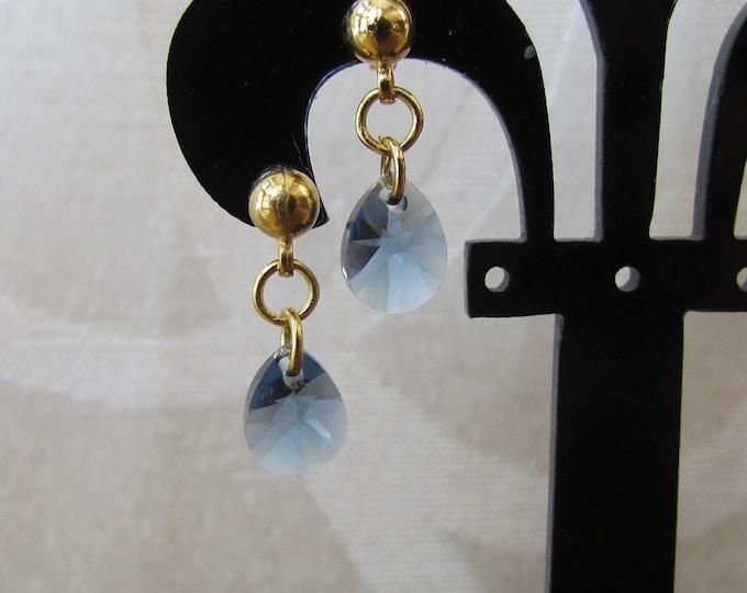 Swarvarski dainty earring, blue dangle earrings, denim blue pear pendant, blue pear shape earrings, denim blue and gold jewelry.