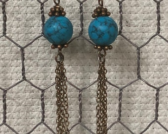 Long brass and blue turquoise chain earrings, brass and blue turquoise earrings, long brass chain dangle earrings, blue turquoise beads