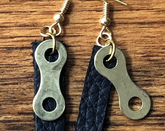 Bicycle earrings, bicycle chain link earrings, bike chain earrings, leather bike enthusiast earring, bicycle lovers gift,