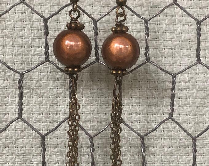 "Long brass chain earrings, long brass chain dangle earrings, brown ""miracle"" bead and brass chain, round bead and chain dangle earrings"