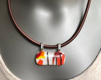 Glass pendant in multi color earth tones, Brown, orange, yellow statement necklace on a thick corded necklace, statement fused glass choker
