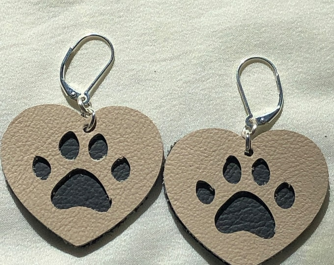Large heart leather pawprint earrings, double layer leather earrings with cut out paw print, navy blue and cream paw print heart earring