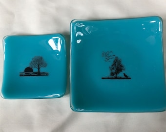 tree and landscape robins egg blue trinket dish, tree and birds large robins egg blue trinket dish, tree lover medium and small ring dish