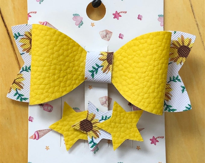 Sunflower and yellow faux leather bow, fancy faux leather barrette bow, medium single loop bow, sunflower hair bow, single loop leather bow.