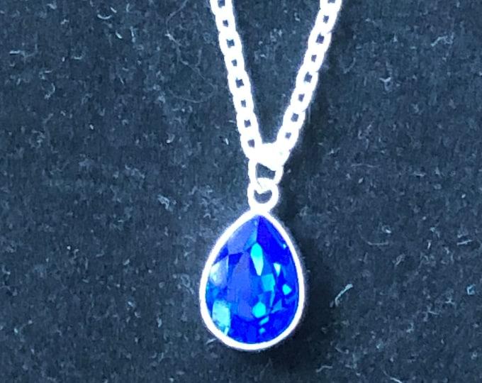 Swarovski necklace, teardrop fashion Swarovski necklace, blue diamond Swarovski crystal necklace, Swarovski jewelry, teardrop necklace