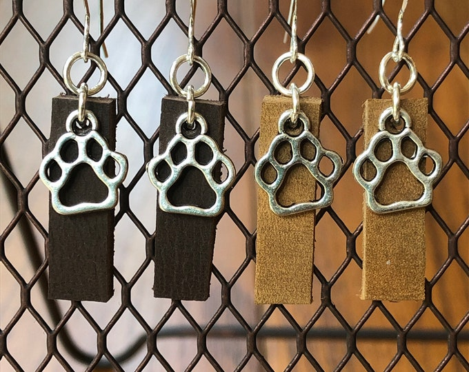Leather drop bar earrings inspired by Joanna Gaines!  Sterling silver and leather earrings with a dog paw charm, leather and silver earrings