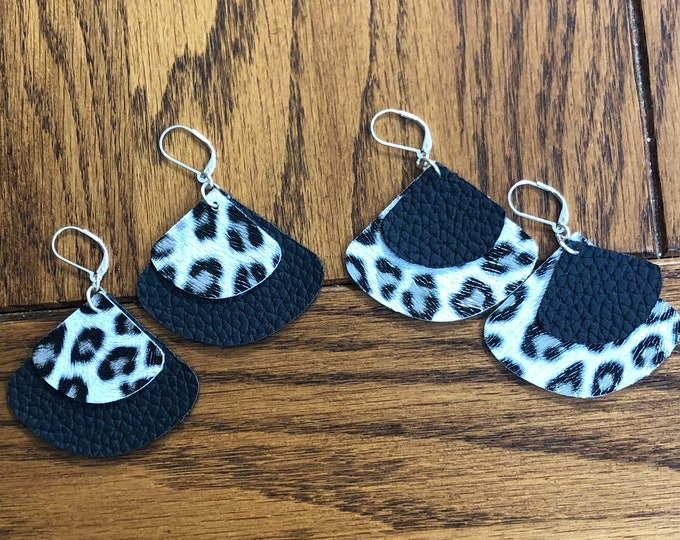 faux leather earrings, animal print double layer faux leather earrings, fan shaped faux leather earrings, black and animal print earrings.