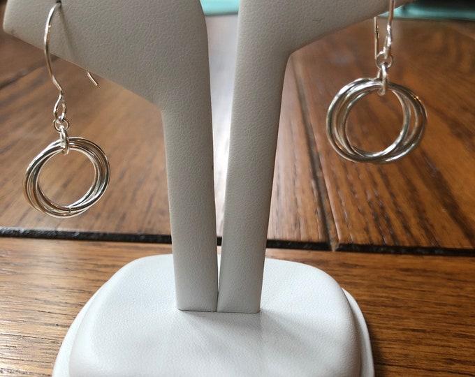 Sterling silver earring dangle, sterling silver earrings hooks, sterling silver earring wire, sterling silver interlocking ring earrings.
