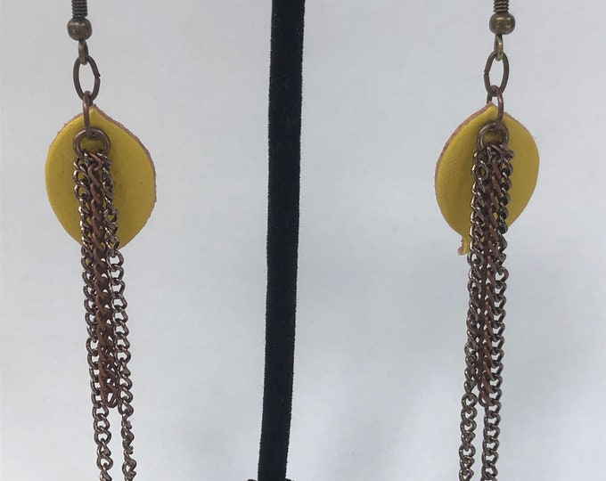Boho chain earrings, thin chain earrings, chain and leather earrings,  yellow leather and brass chain earrings, yellow leather leaves